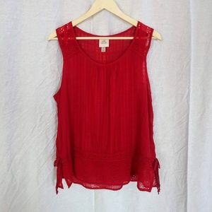 Knox Rose Red Embroidered Tank size L